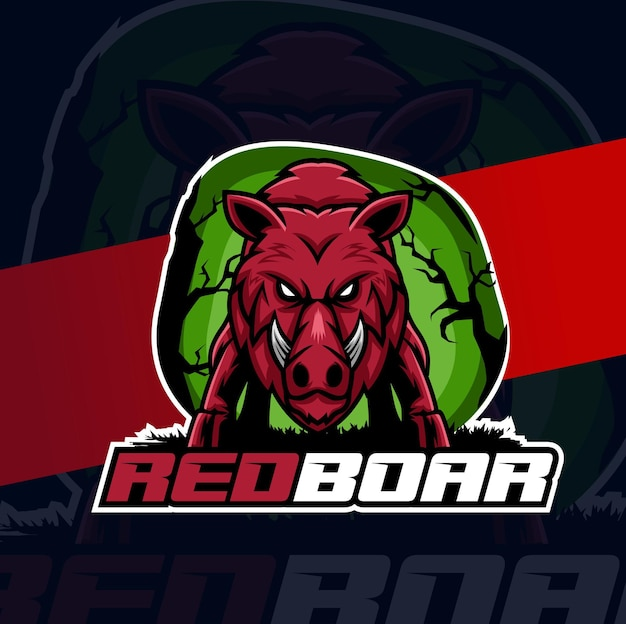 Read boar esport logo design character for gameing and sport mascot
