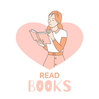 Читайте книги баннер дизайн шаблона. женщина, чтение книги мультфильм наброски иллюстрации. интеллектуальное, интеллектуальное хобби.