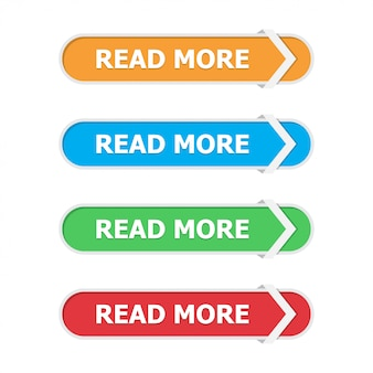 Read more buttons set in a flat with arrow on white