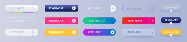 Read more buttons vector set. rectangle templates for designs. line and gradient and flat icons. sign for click.