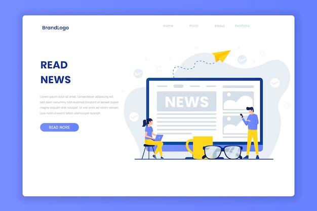 Read news landing page template