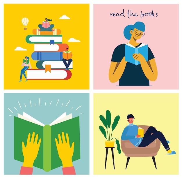 Читать книгу. иллюстрация людей, читающих книгу, сидя на стопке книг