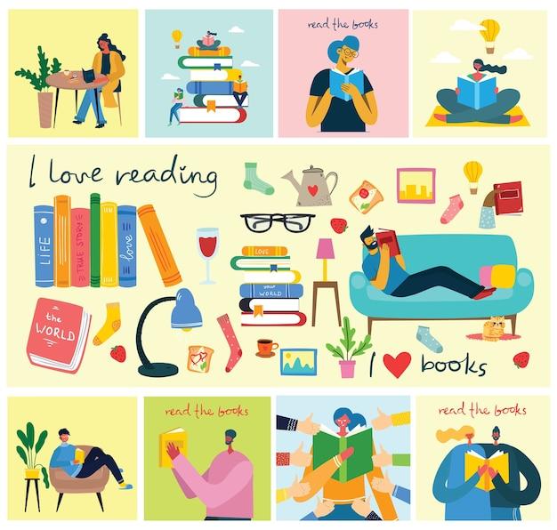 책을 읽으십시오. 책 더미에 앉아있는 동안 책을 읽는 사람들의 그림