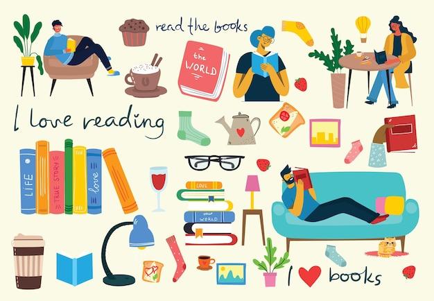 本を読む。さまざまなイラストのセット