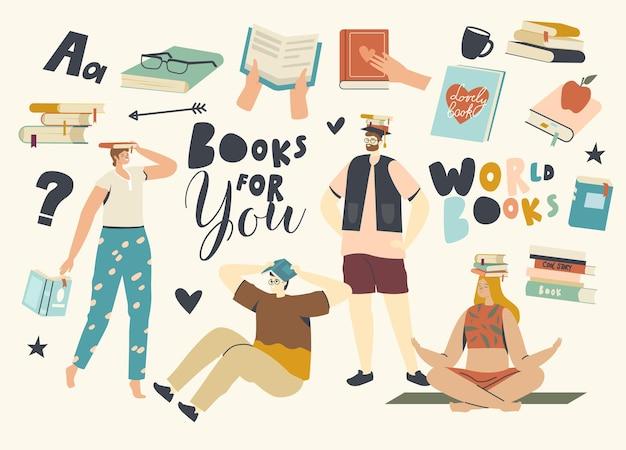 독자 여성과 남성이 머리 위에 책을 들고 읽고 있습니다. 젊은 학생이나 책벌레는 도서관에서 시간을 보내고 캐릭터는 문학 창고에서 시험을 준비합니다. 선형 벡터 일러스트 레이 션