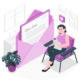 Чтение иллюстрации концепции письма
