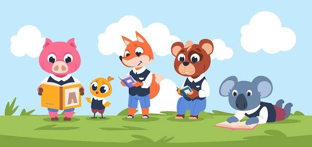 Чтение персонажей-животных. симпатичные персонажи мультфильмов дети читают книгу вместе.