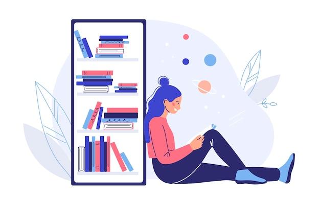 Концепция чтения книги. цветные плоские векторные иллюстрации. изолированные на белом фоне.