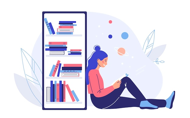 Reading book concept. colored flat vector illustration. isolated on white background.