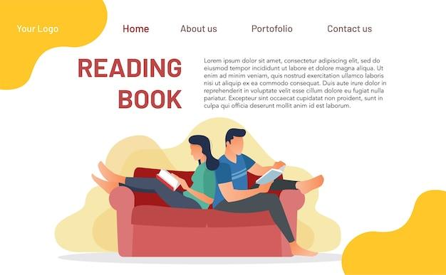 Концепция чтения книги для целевой страницы. идеальные иллюстрации для веб-сайтов и мобильных приложений