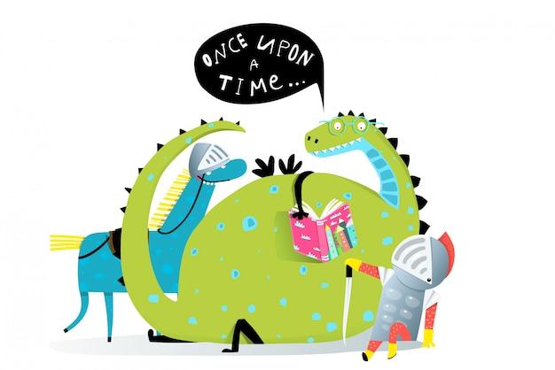 物語を聞いて本を読むドラゴンと騎士