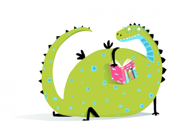 Reading book dragon