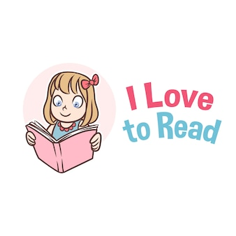 Reading book girl mascot logo