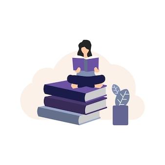 Reading book icon, human reading book icon , book lover icon, book lover flat color, illustration, icon, library icon, books icon, book