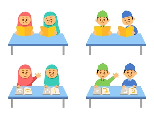 Reading book islamic kids flat character set