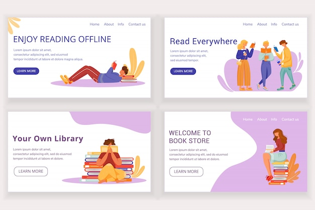 Reading book landing page  template set. offline bookstore website interface idea with  illustrations. library homepage layout. keen reader web , webpage cartoon concept