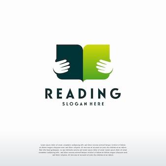 독서 책 로고 디자인 개념 벡터, 교육 로고 템플릿