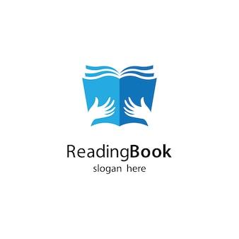 Чтение книги логотип шаблон иллюстрации