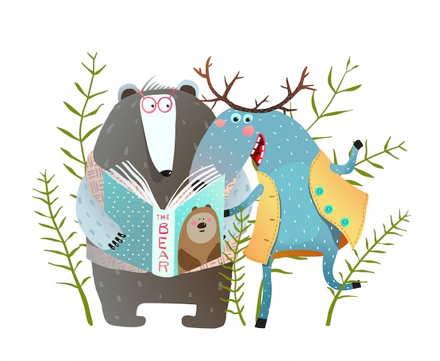 Reading book moose and bear. funny forest animals friends with book.  illustration.