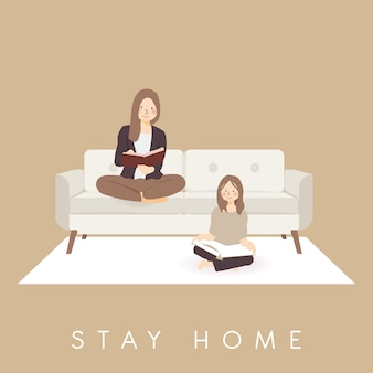 Reading book practicing stay home, comfortably lazying around in home to spend time during pandemic coronavirus covid-19 outbreak to prevent infection spreading