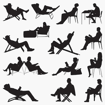 Reading book silhouettes