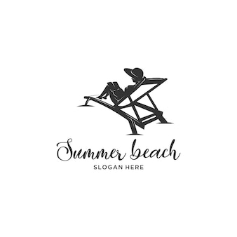 Reading book summer beach silhouette logo