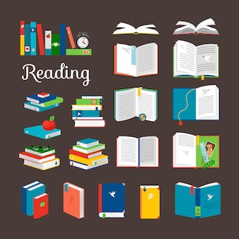 Reading book vector cartoon icons set
