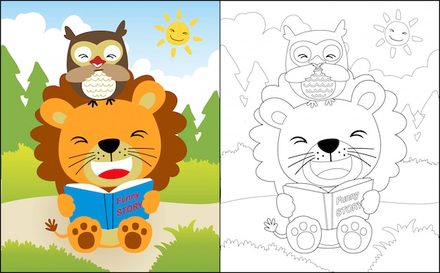 Reading book with lion and owl cartoon