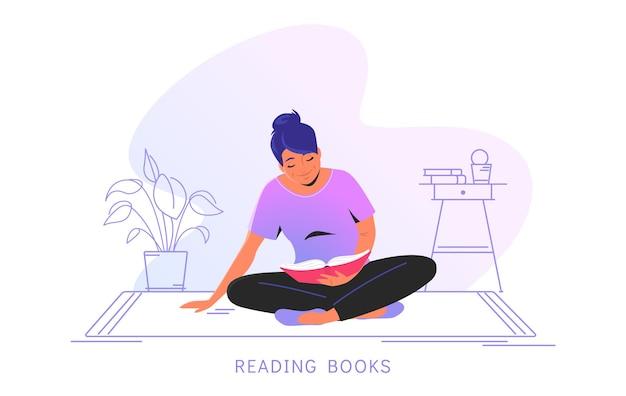 家で本を読む。床に一人で座って、家で本を読んでかわいい笑顔の女性のフラットベクトルイラスト。コピースペースと白い背景で隔離の居心地の良い輪郭のインテリア