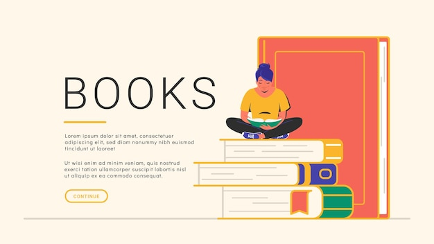 本を読むコンセプトバナー。いくつかの本に一人で座って読んでかわいい笑顔の女性のフラットベクトルイラスト。コピースペースと白い背景の上の居心地の良いアウトラインライブラリバナーデザイン
