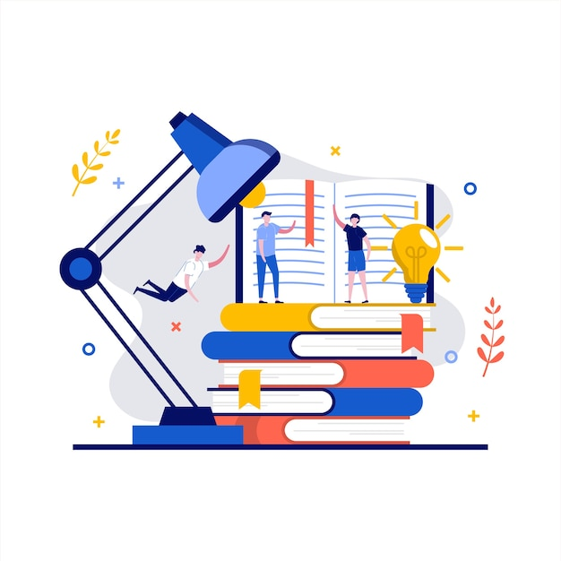 文字で本のコンセプトを読む。図書館で学ぶ人々。