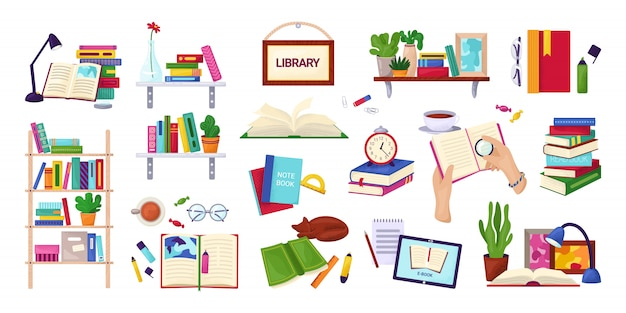 Reading books, education and library concept, set of  on white  illustrations. encyclopedia, textbook icons, stack of books, hands with notebook. study and knowledge.