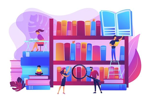本、百科事典を読む。勉強し、学んでいる学生。公共図書館のイベント、無料の個別指導とワークショップ、図書館の宿題のヘルプコンセプト。明るく鮮やかな紫の孤立したイラスト