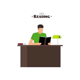 Reading books flat style concept