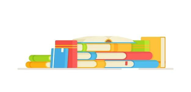 読書。宿題をするイラスト。ブックスタック。学校、勉強、図書館、棚。