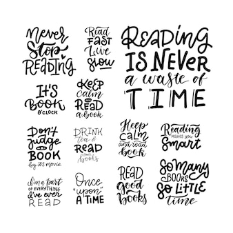 Чтение книг - набор надписи положительные цитаты. каллиграфическая открытка или элемент типографии графического дизайна плаката. рукописные линейный векторный знак.