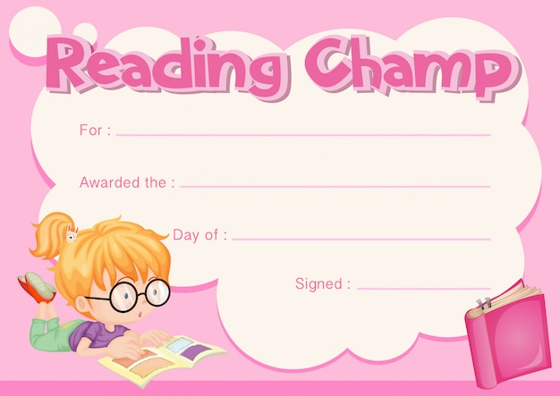 Reading champ certificate with girl reading book