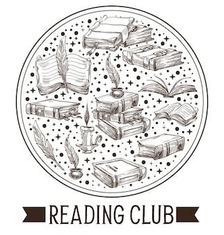 クラブの本やヴィンテージのインクの羽のエンブレムを読む