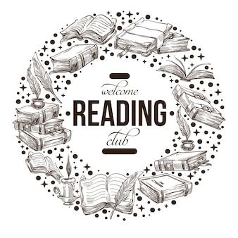 クラブのヴィンテージのエンブレムや本のラベルを読む