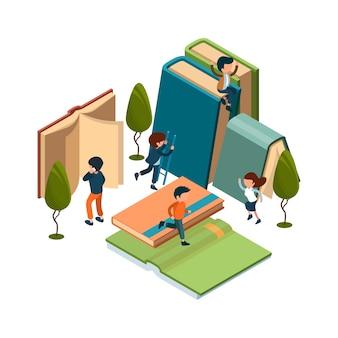 読書の概念。等尺性の本、人々のイラストを読んでいます。勉強、自由時間、本での娯楽。教育アイソメトリック、学習のための百科事典を備えたライブラリ