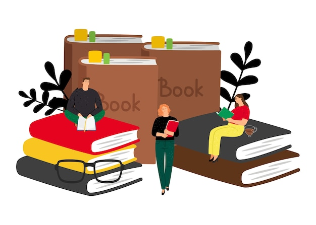 Концепция чтения. векторные книги и крошечные люди. студенты с книгами, мужские женские плоские герои мультфильмов