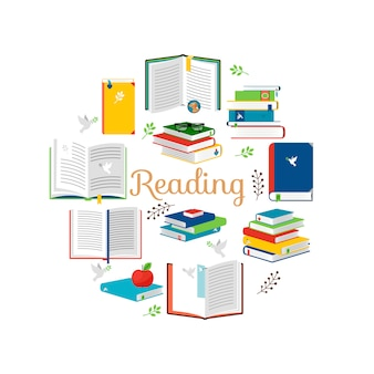 Reading concept with isometric style books vector icons