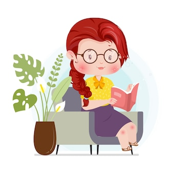 Reading cute character concept  illustration stay at home