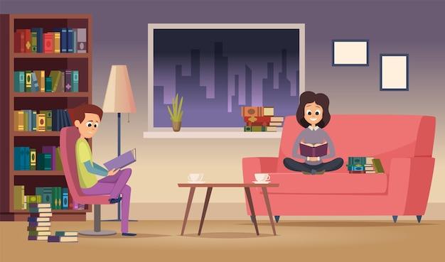 가족을 읽고. 여자 남자는 거실에서 책을 읽습니다. 행복한 학생들은 밤에 공부합니다. 테스트 준비 벡터 일러스트 레이 션. 남자, 여자와 남자 독서와 휴식