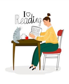 Чтение девушка персонаж с кошкой на столе иллюстрации