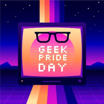 Reading glasses and synthwave effect geek pride day