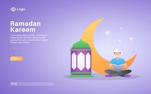 Reading the holy quran flat landing page template
