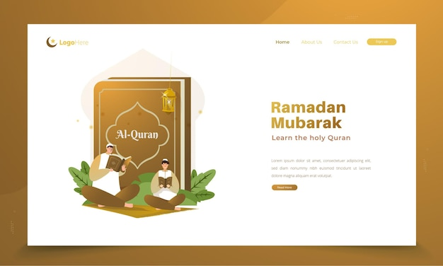 Reading the holy quran for ramadan greetings concept