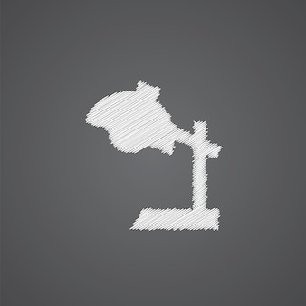 Reading-lamp sketch logo doodle icon isolated on dark background