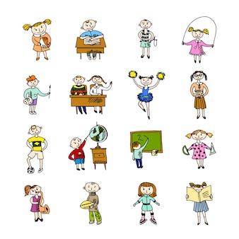 学習チアリーディングを読んで、バックパックのサッカースクールの子供たちを演奏する落書きスケッチベクトル図